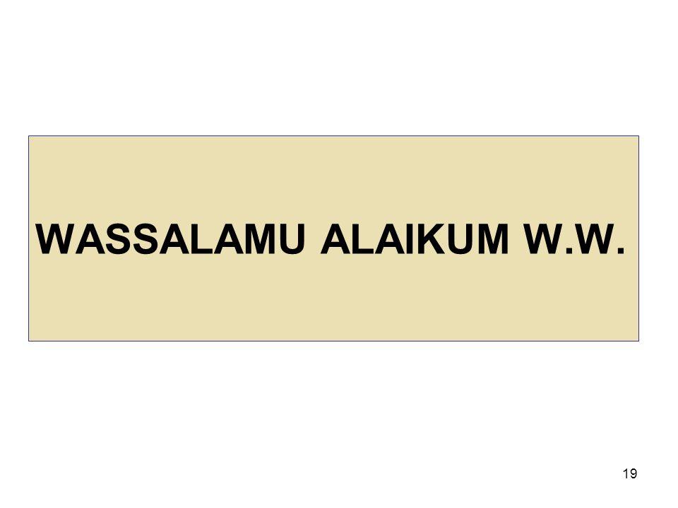 19 WASSALAMU ALAIKUM W.W.