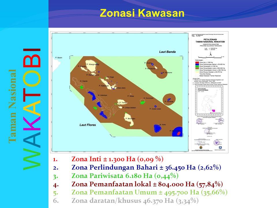 Zonasi Kawasan WAKATOBIWAKATOBI Taman Nasional 1.Zona Inti ± 1.300 Ha (0,09 %) 2.Zona Perlindungan Bahari ± 36.450 Ha (2,62%) 3.Zona Pariwisata 6.180 Ha (0,44%) 4.Zona Pemanfaatan lokal ± 804.000 Ha (57,84%) 5.Zona Pemanfaatan Umum ± 495.700 Ha (35,66%) 6.Zona daratan/khusus 46.370 Ha (3,34%)