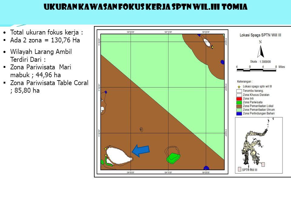 UKURAN KAWASAN FOKUS KERJA SPTN WIL.III TOMIA Total ukuran fokus kerja :  Ada 2 zona = 130,76 Ha Wilayah Larang Ambil Terdiri Dari :  Zona Pariwisata Mari mabuk ; 44,96 ha  Zona Pariwisata Table Coral ; 85,80 ha