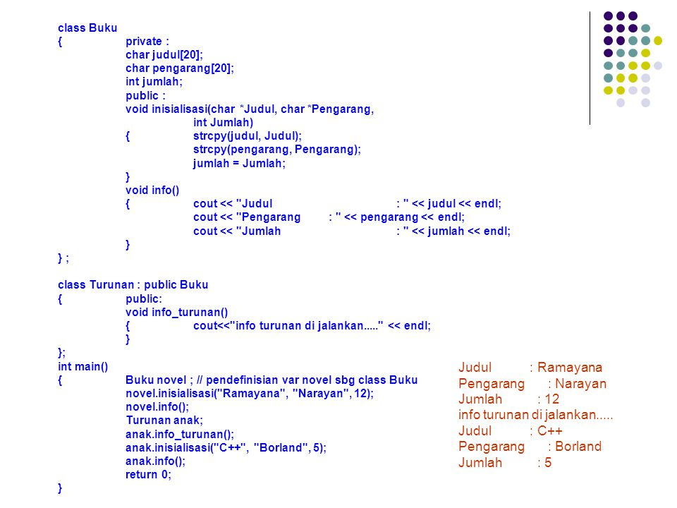 class Buku {private : char judul[20]; char pengarang[20]; int jumlah; public : void inisialisasi(char *Judul, char *Pengarang, int Jumlah) {strcpy(judul, Judul); strcpy(pengarang, Pengarang); jumlah = Jumlah; } void info() {cout << Judul: << judul << endl; cout << Pengarang: << pengarang << endl; cout << Jumlah: << jumlah << endl; } } ; class Turunan : public Buku {public: void info_turunan() {cout<< info turunan di jalankan..... << endl; } }; int main() {Buku novel ; // pendefinisian var novel sbg class Buku novel.inisialisasi( Ramayana , Narayan , 12); novel.info(); Turunan anak; anak.info_turunan(); anak.inisialisasi( C++ , Borland , 5); anak.info(); return 0; } Judul : Ramayana Pengarang : Narayan Jumlah : 12 info turunan di jalankan.....