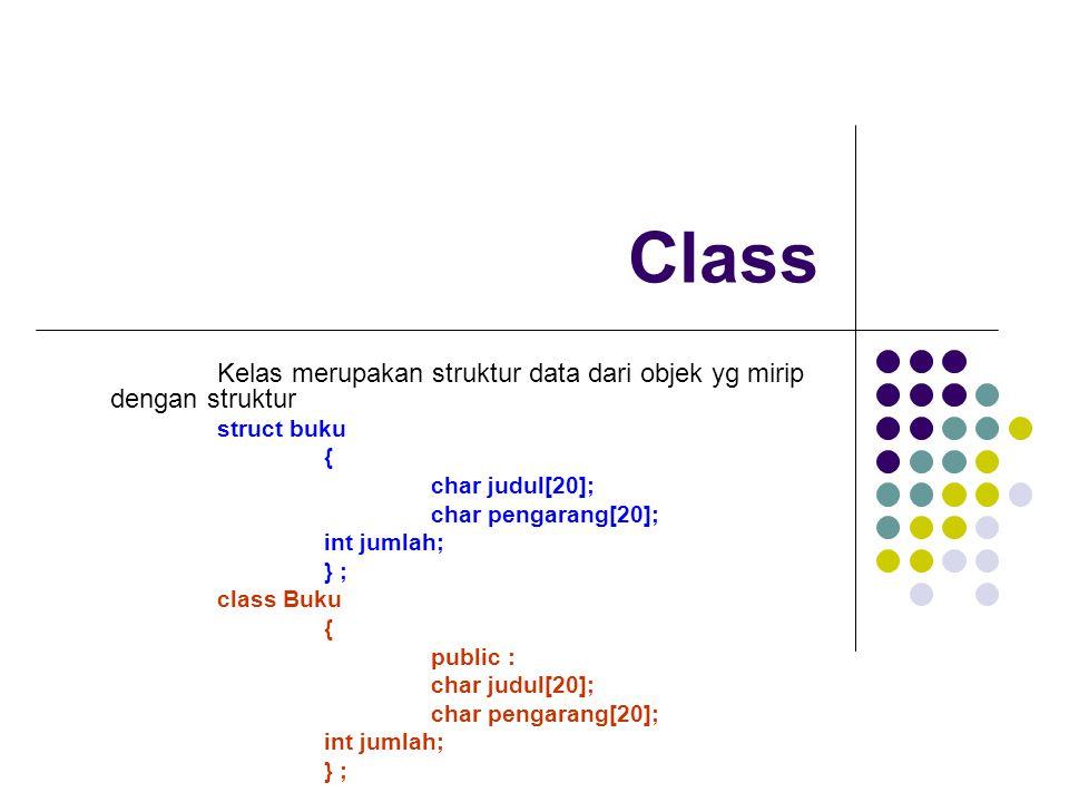 Class Kelas merupakan struktur data dari objek yg mirip dengan struktur struct buku { char judul[20]; char pengarang[20]; int jumlah; } ; class Buku { public : char judul[20]; char pengarang[20]; int jumlah; } ;