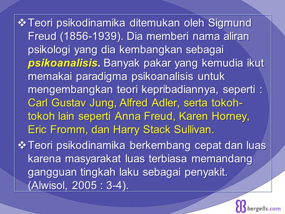  Teori psikodinamika ditemukan oleh Sigmund Freud (1856-1939). Dia memberi nama aliran psikologi yang dia kembangkan sebagai psikoanalisis. Banyak pa