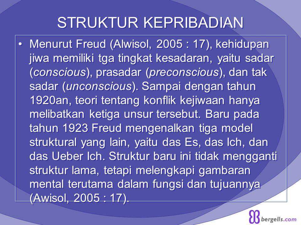 STRUKTUR KEPRIBADIAN Menurut Freud (Alwisol, 2005 : 17), kehidupan jiwa memiliki tga tingkat kesadaran, yaitu sadar (conscious), prasadar (preconsciou