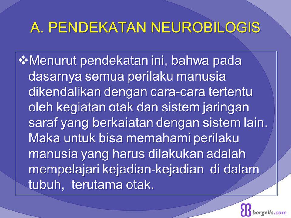 A. PENDEKATAN NEUROBILOGIS  Menurut pendekatan ini, bahwa pada dasarnya semua perilaku manusia dikendalikan dengan cara-cara tertentu oleh kegiatan o