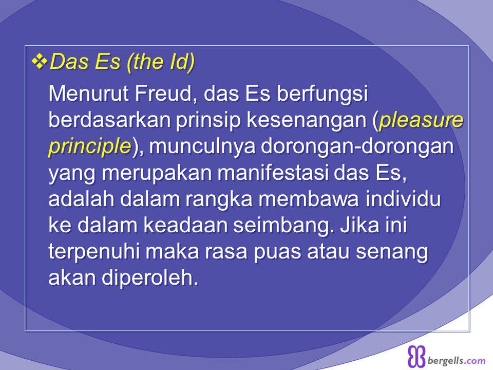  Das Es (the Id) Menurut Freud, das Es berfungsi berdasarkan prinsip kesenangan (pleasure principle), munculnya dorongan-dorongan yang merupakan mani