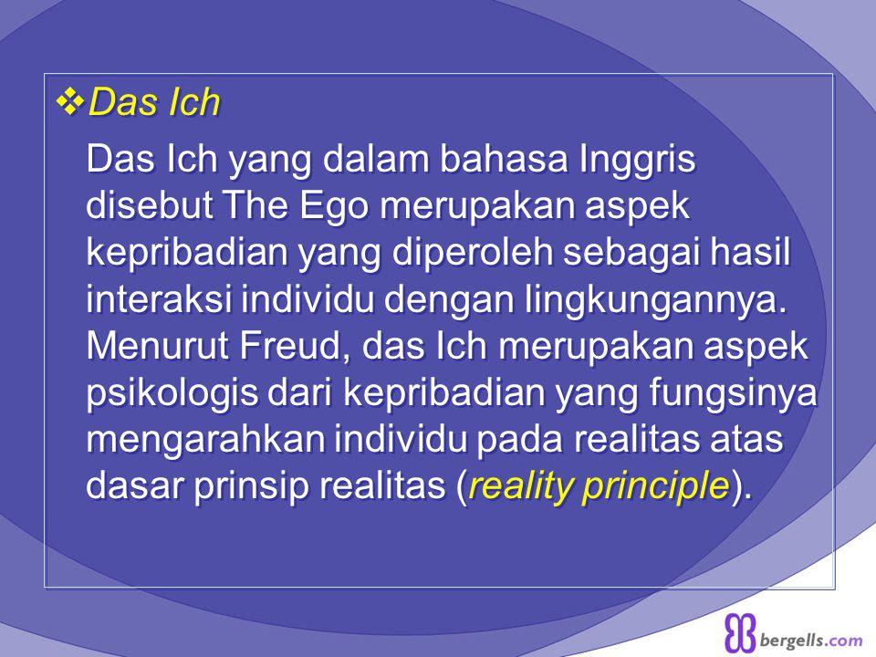  Das Ich Das Ich yang dalam bahasa Inggris disebut The Ego merupakan aspek kepribadian yang diperoleh sebagai hasil interaksi individu dengan lingkun
