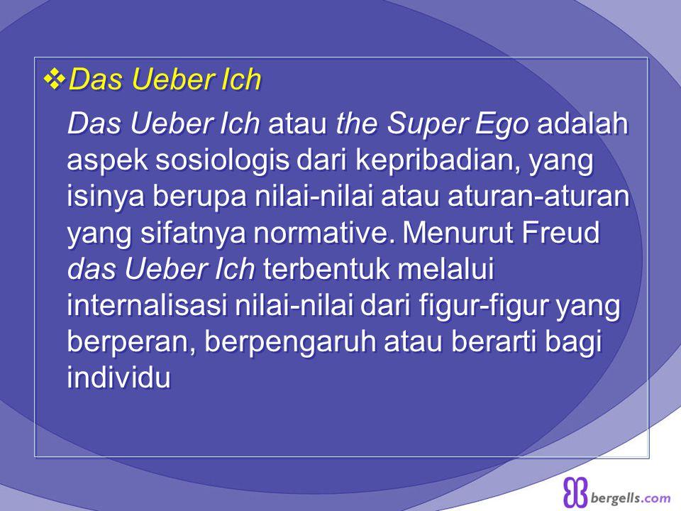  Das Ueber Ich Das Ueber Ich atau the Super Ego adalah aspek sosiologis dari kepribadian, yang isinya berupa nilai-nilai atau aturan-aturan yang sifa