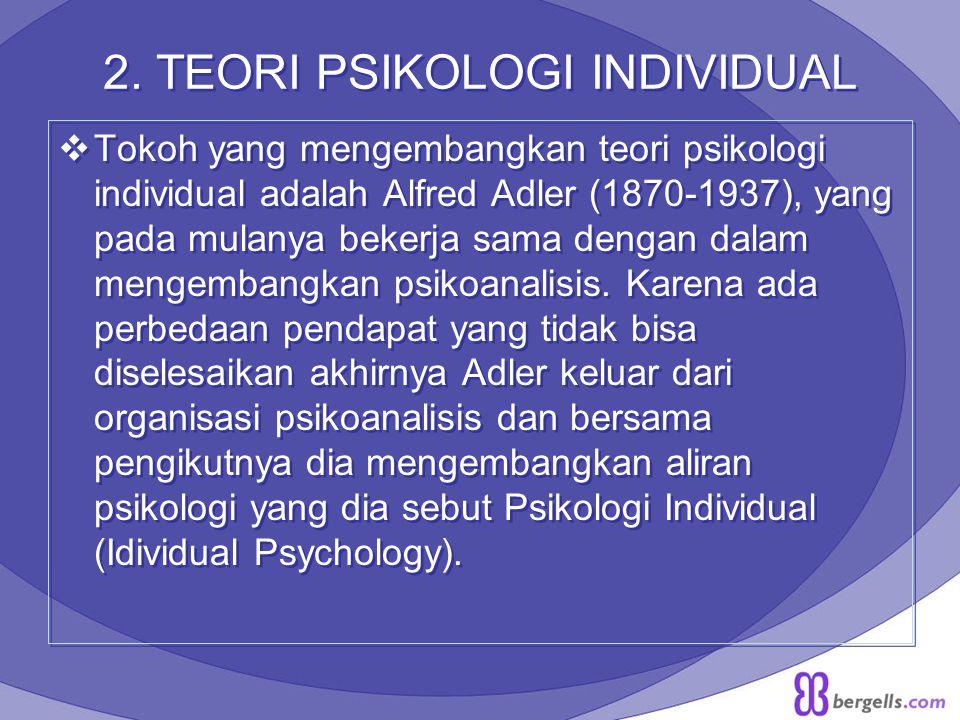 2. TEORI PSIKOLOGI INDIVIDUAL  Tokoh yang mengembangkan teori psikologi individual adalah Alfred Adler (1870-1937), yang pada mulanya bekerja sama de