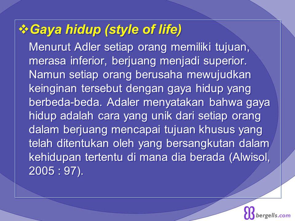  Gaya hidup (style of life) Menurut Adler setiap orang memiliki tujuan, merasa inferior, berjuang menjadi superior. Namun setiap orang berusaha mewuj