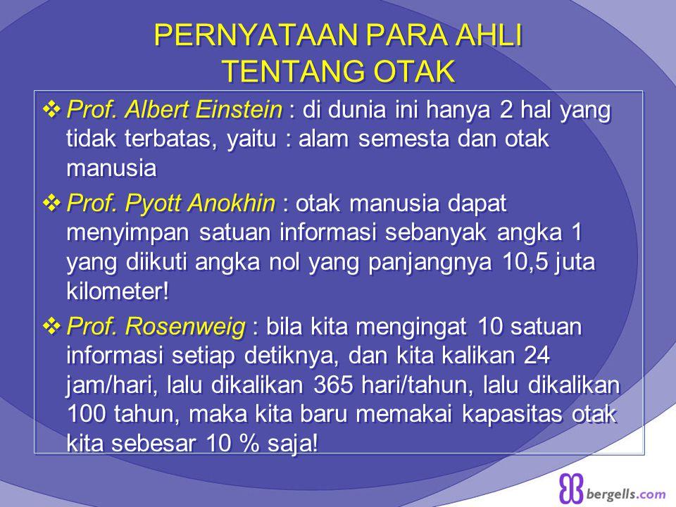 PERNYATAAN PARA AHLI TENTANG OTAK  Prof. Albert Einstein : di dunia ini hanya 2 hal yang tidak terbatas, yaitu : alam semesta dan otak manusia  Prof