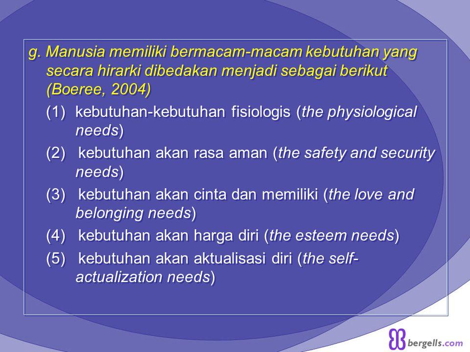 g. Manusia memiliki bermacam-macam kebutuhan yang secara hirarki dibedakan menjadi sebagai berikut (Boeree, 2004) (1)kebutuhan-kebutuhan fisiologis (t