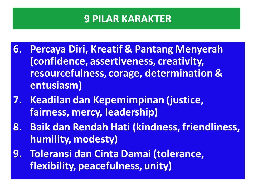 9 PILAR KARAKTER 1.Cinta Tuhan & Kebenaran (Love Allah, trust, reverence & loyality) 2.Tanggung jawab, kedisiplinan & Kemandirian (responsibility, exc