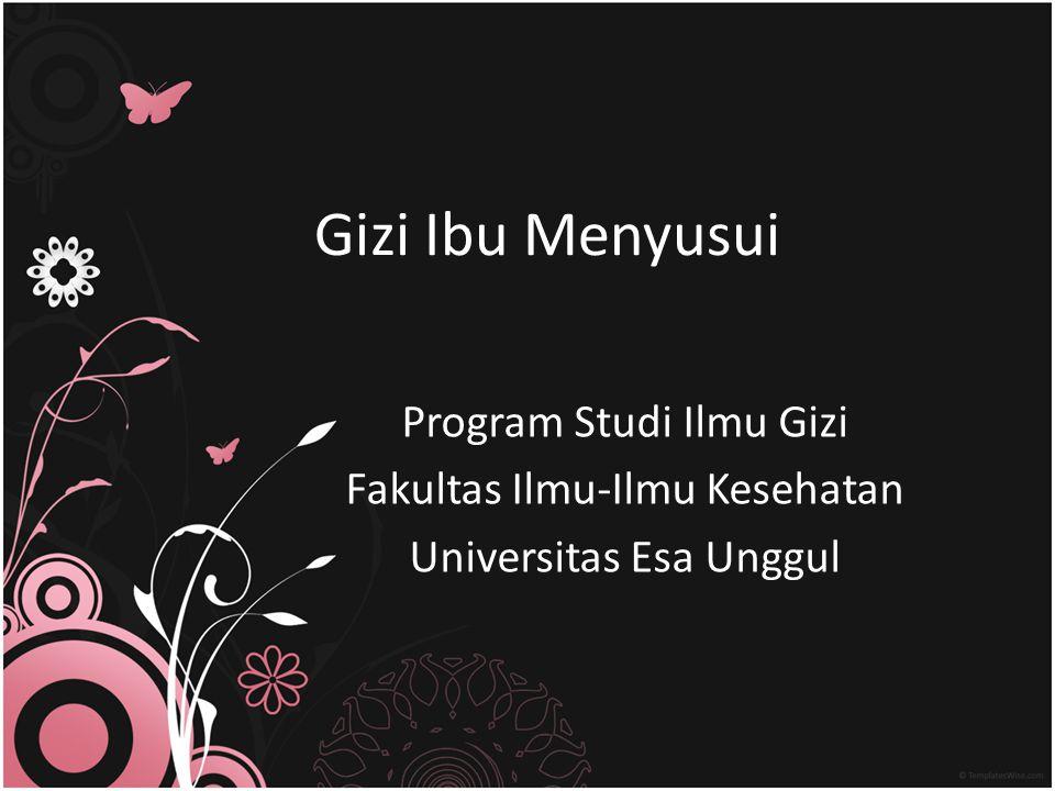 Gizi Ibu Menyusui Program Studi Ilmu Gizi Fakultas Ilmu-Ilmu Kesehatan Universitas Esa Unggul