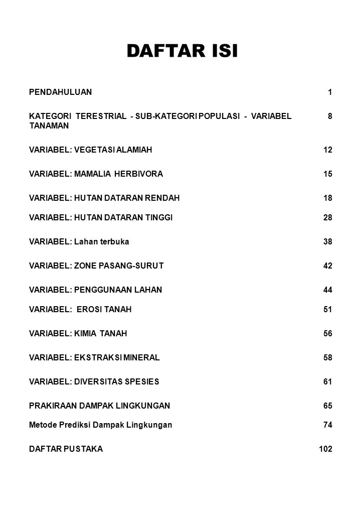 DAFTAR ISI PENDAHULUAN1 KATEGORI TERESTRIAL - SUB-KATEGORI POPULASI - VARIABEL TANAMAN 8 VARIABEL: VEGETASI ALAMIAH12 VARIABEL: MAMALIA HERBIVORA15 VA