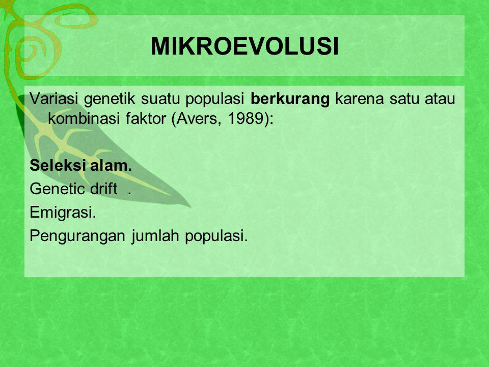MIKROEVOLUSI Variasi genetik suatu populasi berkurang karena satu atau kombinasi faktor (Avers, 1989): Seleksi alam.