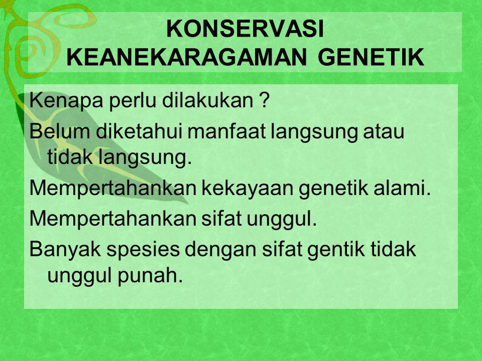KONSERVASI KEANEKARAGAMAN GENETIK Kenapa perlu dilakukan .
