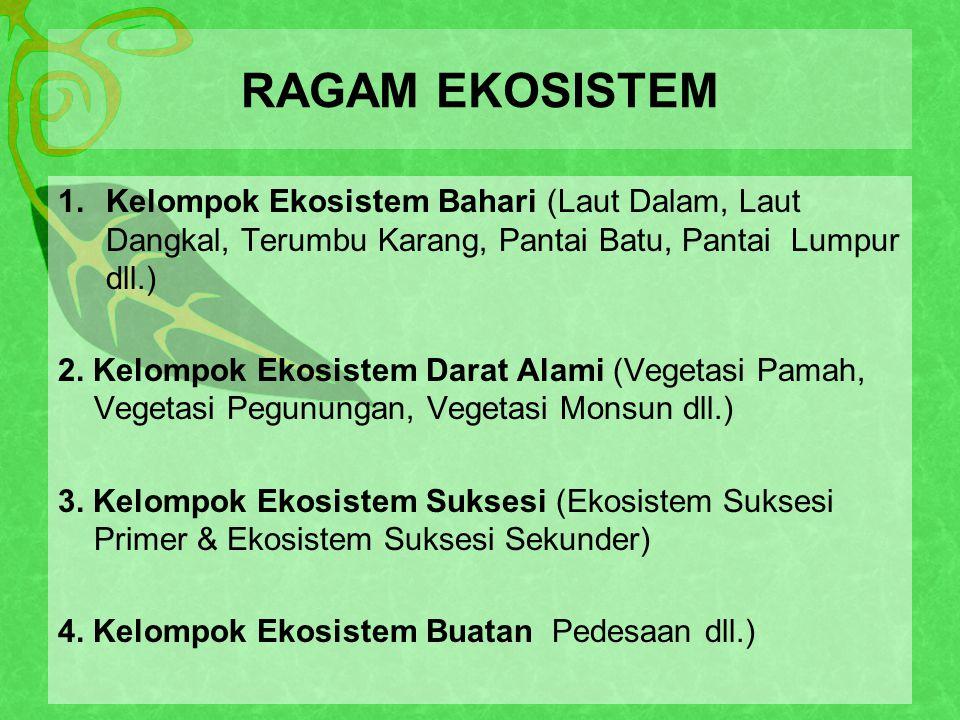RAGAM EKOSISTEM 1.Kelompok Ekosistem Bahari (Laut Dalam, Laut Dangkal, Terumbu Karang, Pantai Batu, Pantai Lumpur dll.) 2.