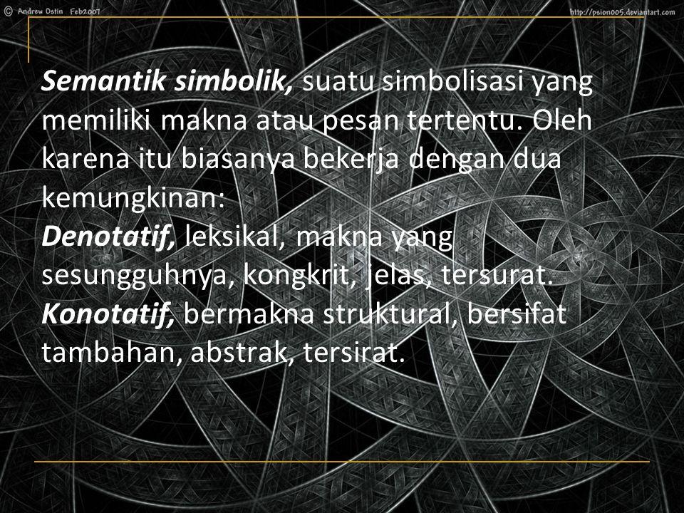 Semantik simbolik, suatu simbolisasi yang memiliki makna atau pesan tertentu.