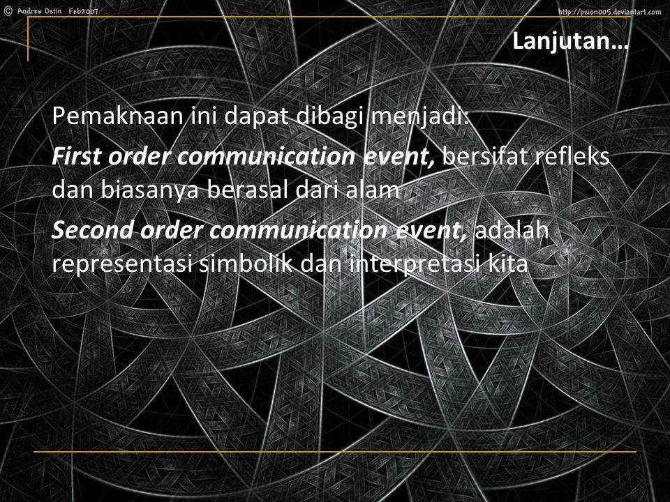 Lanjutan… Pemaknaan ini dapat dibagi menjadi: First order communication event, bersifat refleks dan biasanya berasal dari alam Second order communication event, adalah representasi simbolik dan interpretasi kita