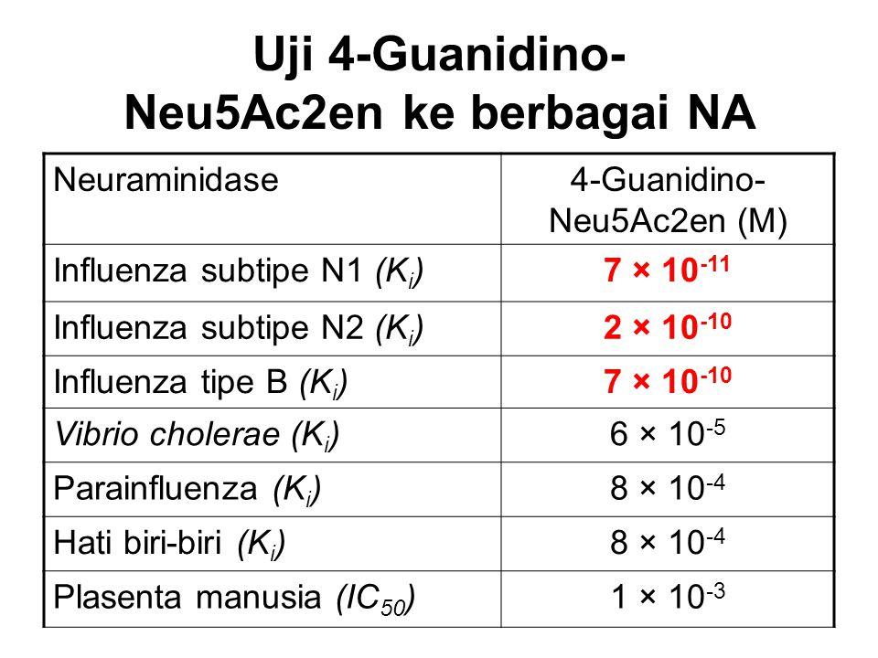Uji 4-Guanidino- Neu5Ac2en ke berbagai NA Neuraminidase4-Guanidino- Neu5Ac2en (M) Influenza subtipe N1 (K i )7 × 10 -11 Influenza subtipe N2 (K i )2 ×