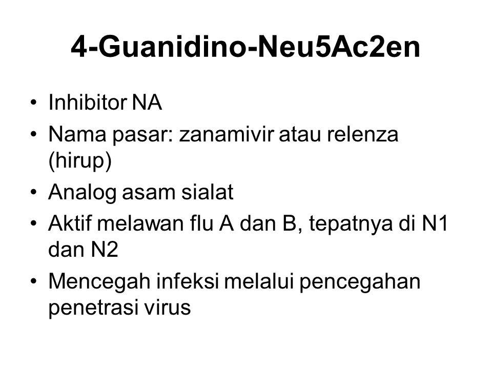4-Guanidino-Neu5Ac2en Inhibitor NA Nama pasar: zanamivir atau relenza (hirup) Analog asam sialat Aktif melawan flu A dan B, tepatnya di N1 dan N2 Menc