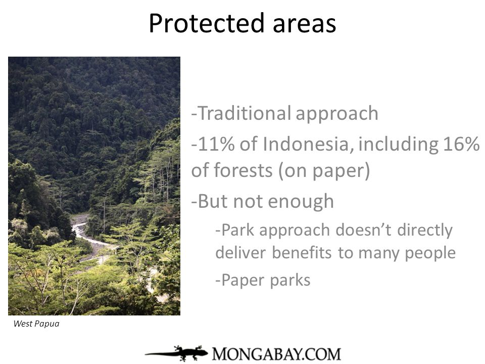 Protected areas -Traditional approach -11% of Indonesia, including 16% of forests (on paper) -But not enough -Park approach doesn't directly deliver b