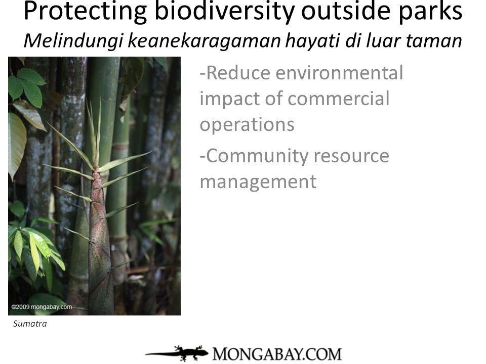 Protecting biodiversity outside parks Melindungi keanekaragaman hayati di luar taman -Reduce environmental impact of commercial operations -Community