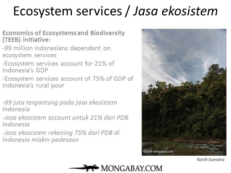 Ecosystem services / Jasa ekosistem Economics of Ecosystems and Biodiversity (TEEB) initiative: -99 million Indonesians dependent on ecosystem service