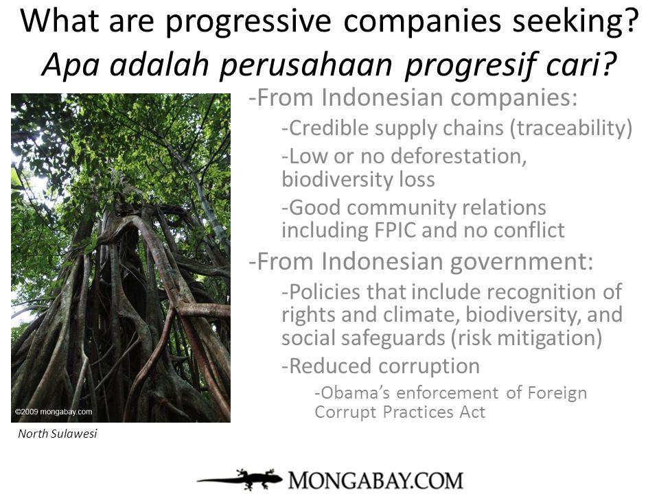 What are progressive companies seeking? Apa adalah perusahaan progresif cari? -From Indonesian companies: -Credible supply chains (traceability) -Low