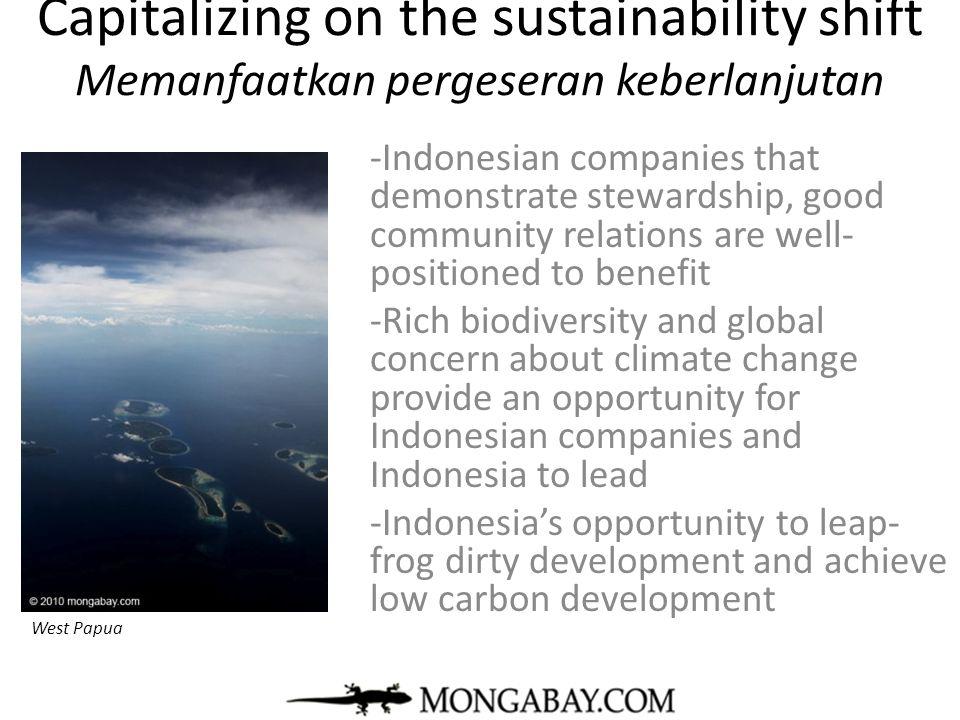 Capitalizing on the sustainability shift Memanfaatkan pergeseran keberlanjutan -Indonesian companies that demonstrate stewardship, good community rela