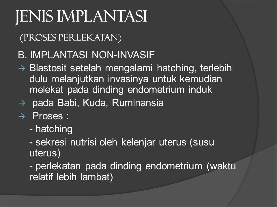 JENIS IMPLANTASI (proses perlekatan) B. IMPLANTASI NON-INVASIF  Blastosit setelah mengalami hatching, terlebih dulu melanjutkan invasinya untuk kemud