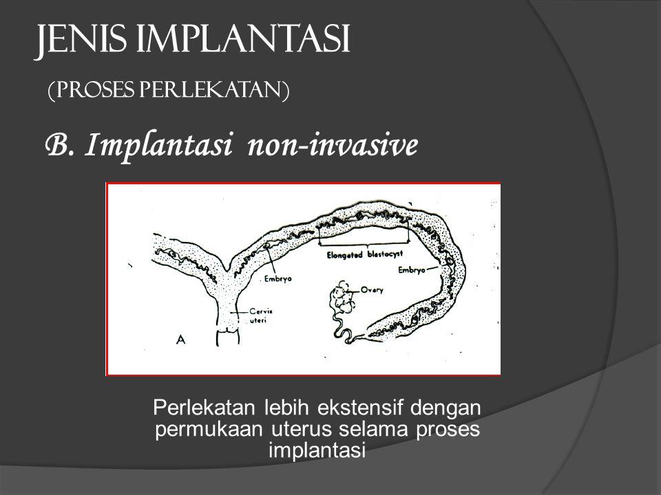 JENIS IMPLANTASI (proses perlekatan) B. Implantasi non-invasive Perlekatan lebih ekstensif dengan permukaan uterus selama proses implantasi