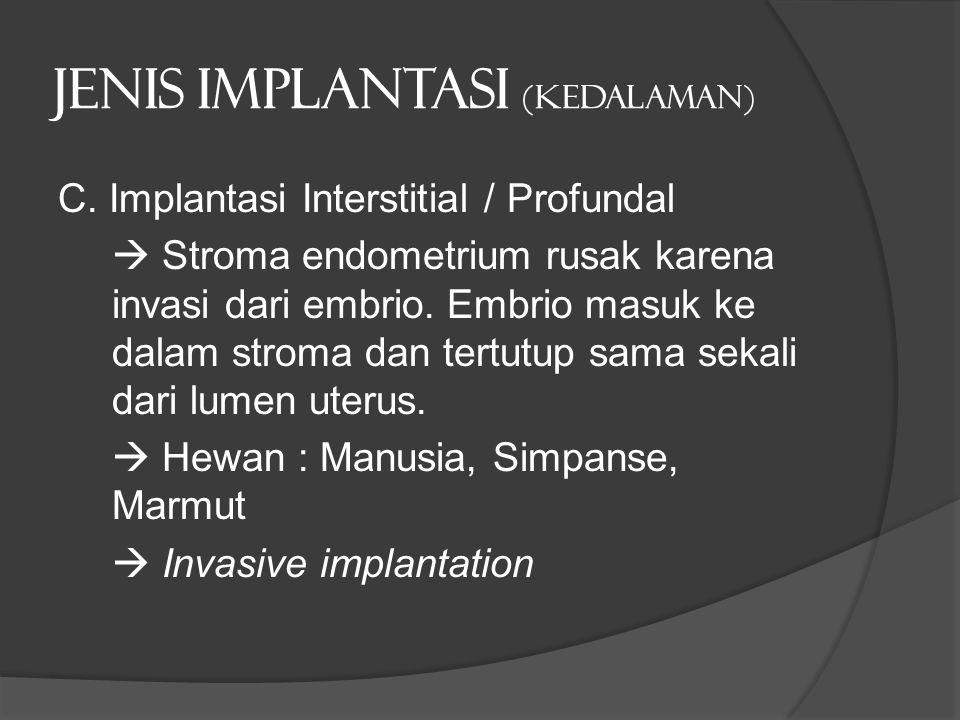 Jenis implantasi (kedalaman) C. Implantasi Interstitial / Profundal  Stroma endometrium rusak karena invasi dari embrio. Embrio masuk ke dalam stroma