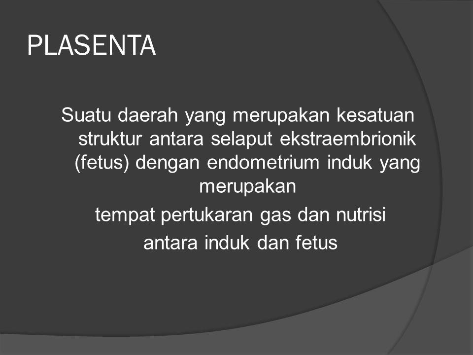 PLASENTA Suatu daerah yang merupakan kesatuan struktur antara selaput ekstraembrionik (fetus) dengan endometrium induk yang merupakan tempat pertukara