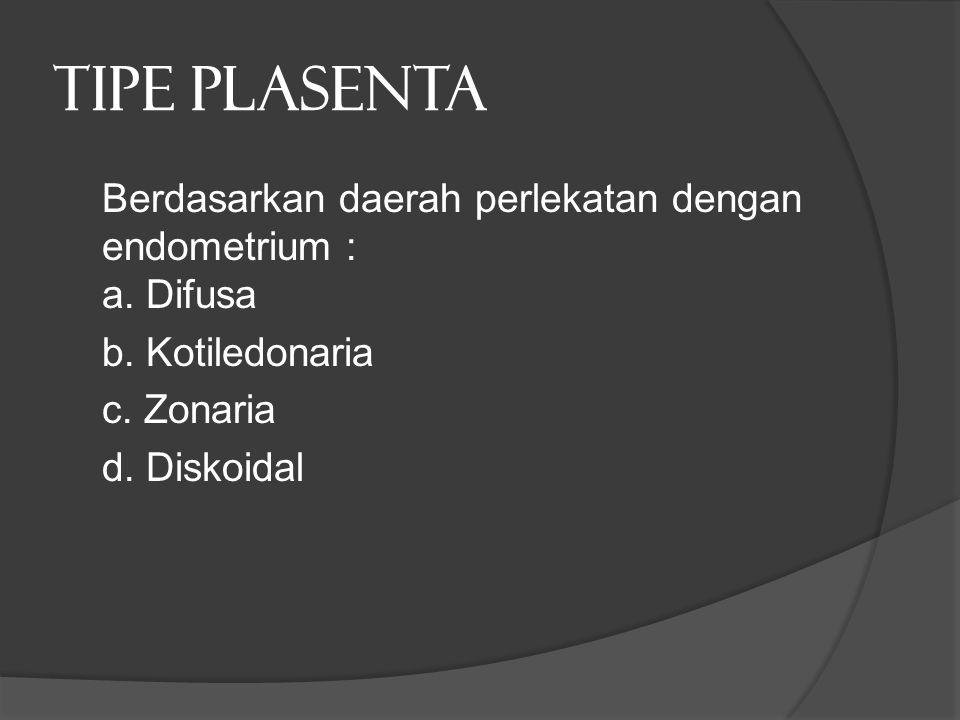 TIPE PLASENTA Berdasarkan daerah perlekatan dengan endometrium : a. Difusa b. Kotiledonaria c. Zonaria d. Diskoidal