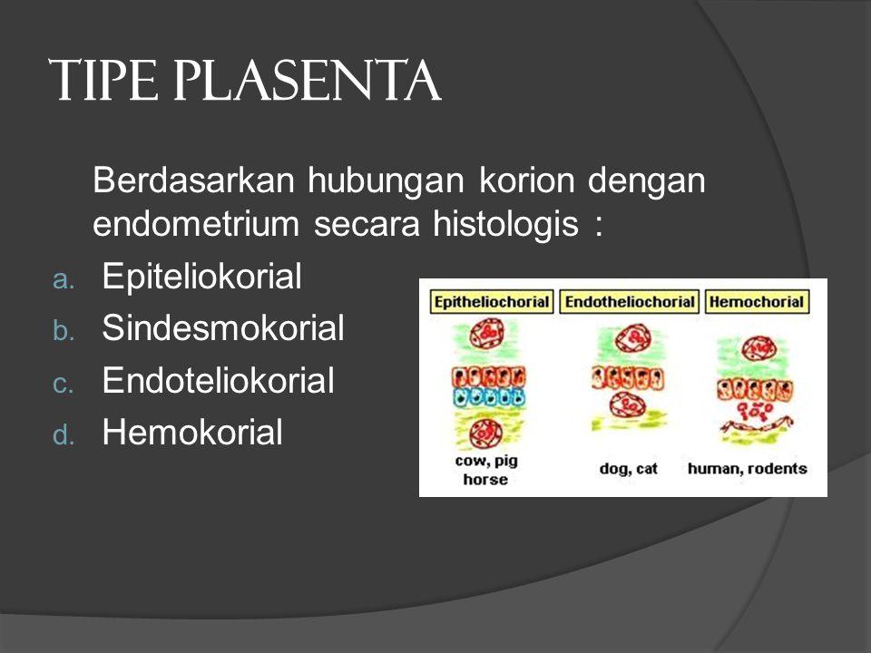 TIPE PLASENTA Berdasarkan hubungan korion dengan endometrium secara histologis : a. Epiteliokorial b. Sindesmokorial c. Endoteliokorial d. Hemokorial