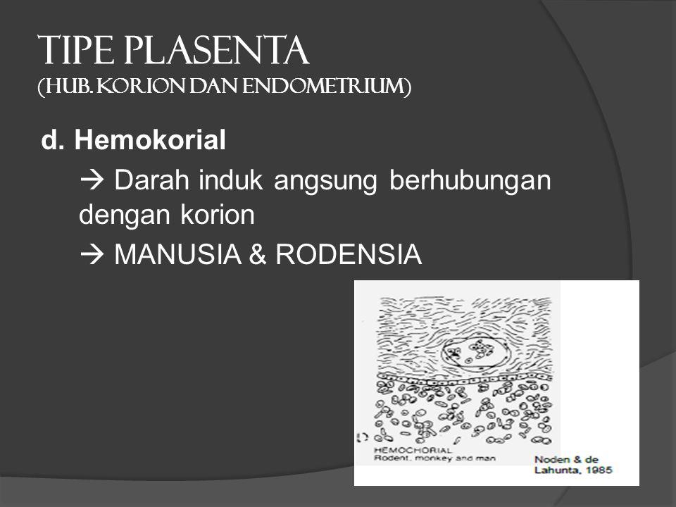 TIPE PLASENTA (hub. Korion dan endometrium) d. Hemokorial  Darah induk angsung berhubungan dengan korion  MANUSIA & RODENSIA