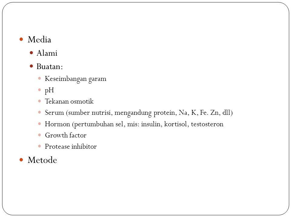 Media Alami Buatan: Keseimbangan garam pH Tekanan osmotik Serum (sumber nutrisi, mengandung protein, Na, K, Fe. Zn, dll) Hormon (pertumbuhan sel, mis: