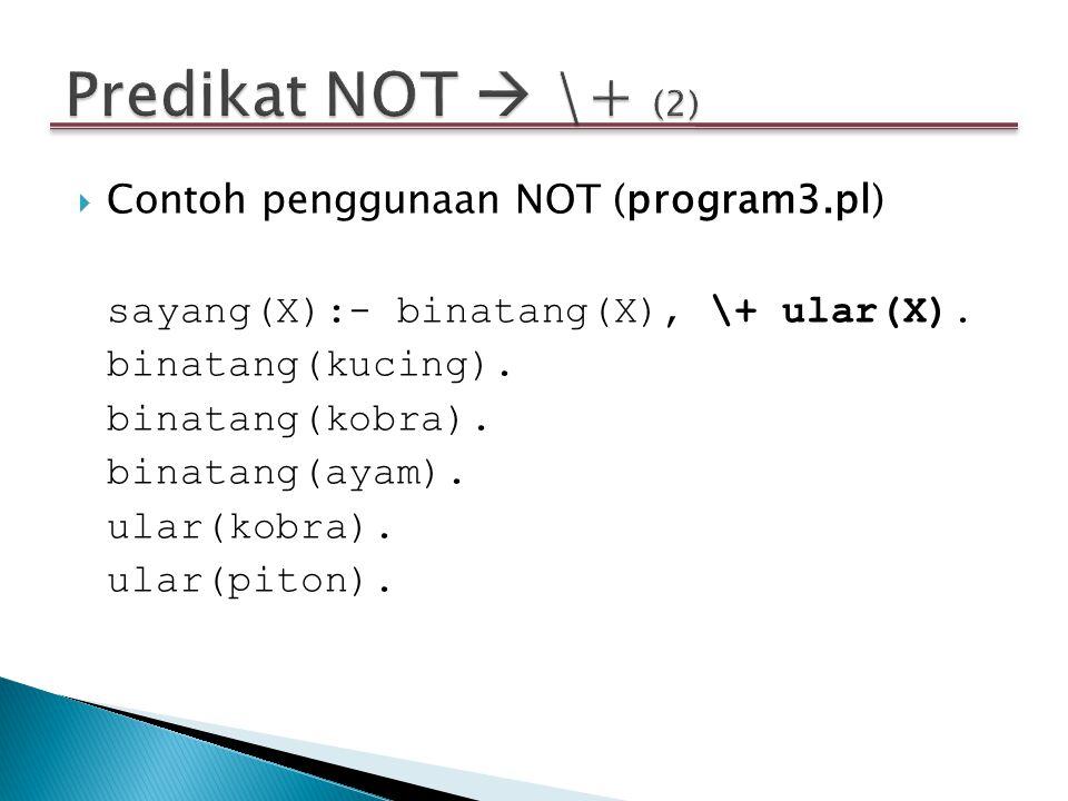  Contoh penggunaan NOT (program3.pl) sayang(X):- binatang(X), \+ ular(X). binatang(kucing). binatang(kobra). binatang(ayam). ular(kobra). ular(piton)