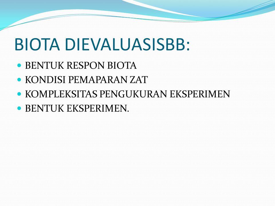 BIOTA DIEVALUASISBB: BENTUK RESPON BIOTA KONDISI PEMAPARAN ZAT KOMPLEKSITAS PENGUKURAN EKSPERIMEN BENTUK EKSPERIMEN.