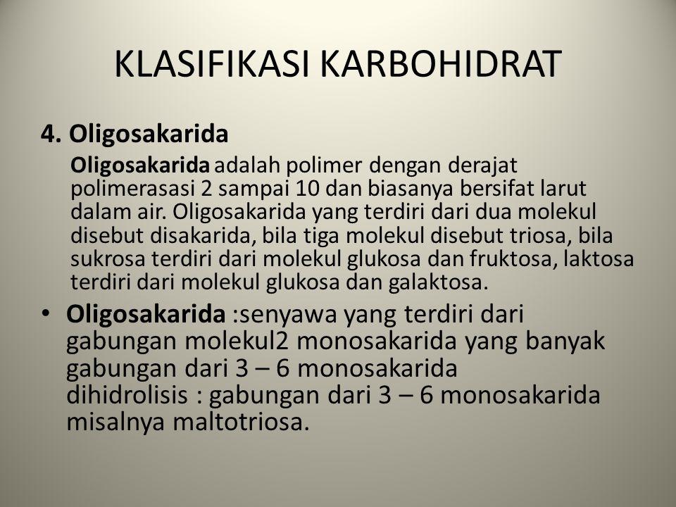 KLASIFIKASI KARBOHIDRAT 3. Polisakarida Polisakarida merupakan karbohidrat yang terbentuk dari banyak sakarida sebagai monomernya. Rumus umum polisaka