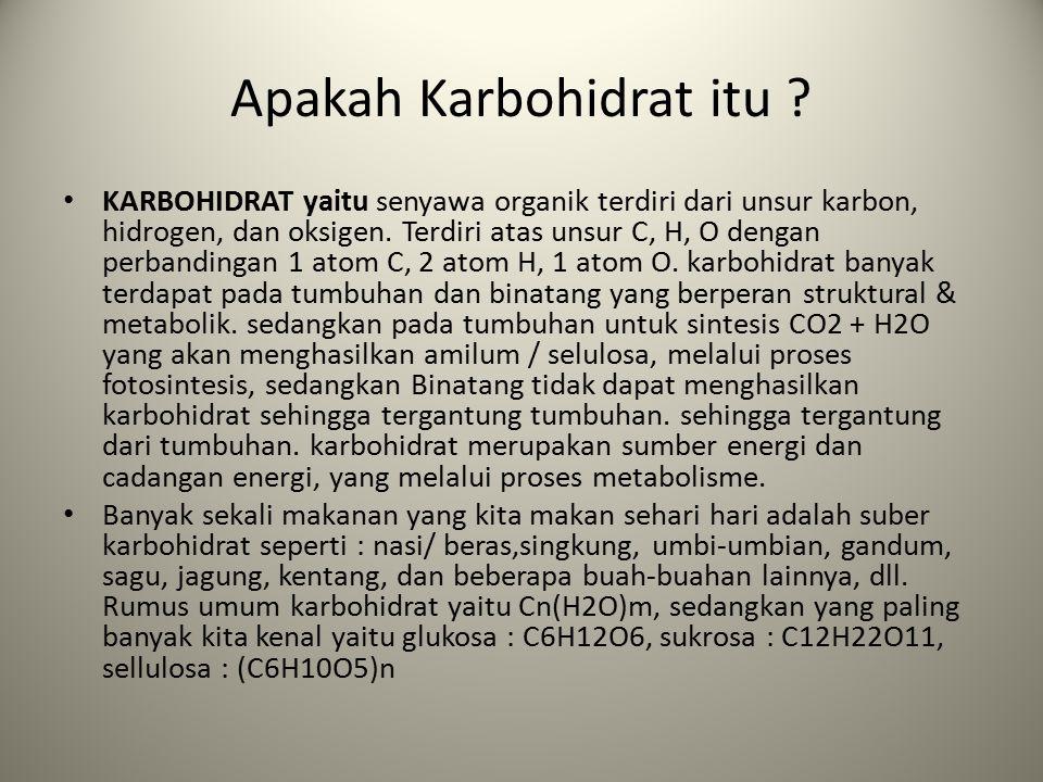 Karbohidrat Karbohidrat merupakan komponen pangan yang menjadi sumber energi utama dan sumber serat makanan. Komponen ini disusun oleh 3 unsur utama,