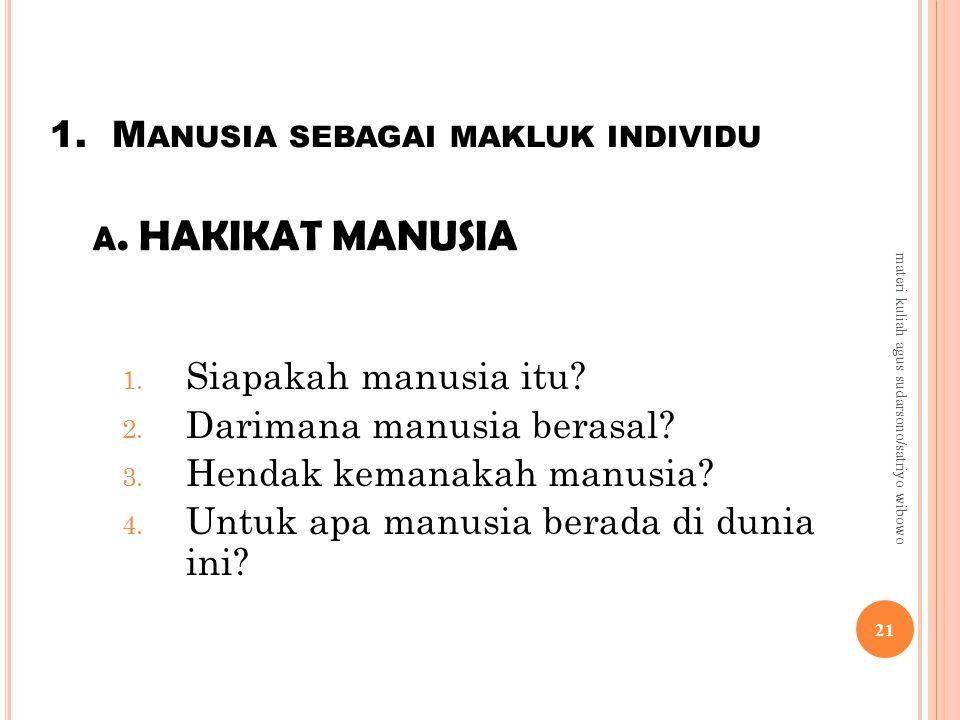 1.M ANUSIA SEBAGAI MAKLUK INDIVIDU A. HAKIKAT MANUSIA 1.