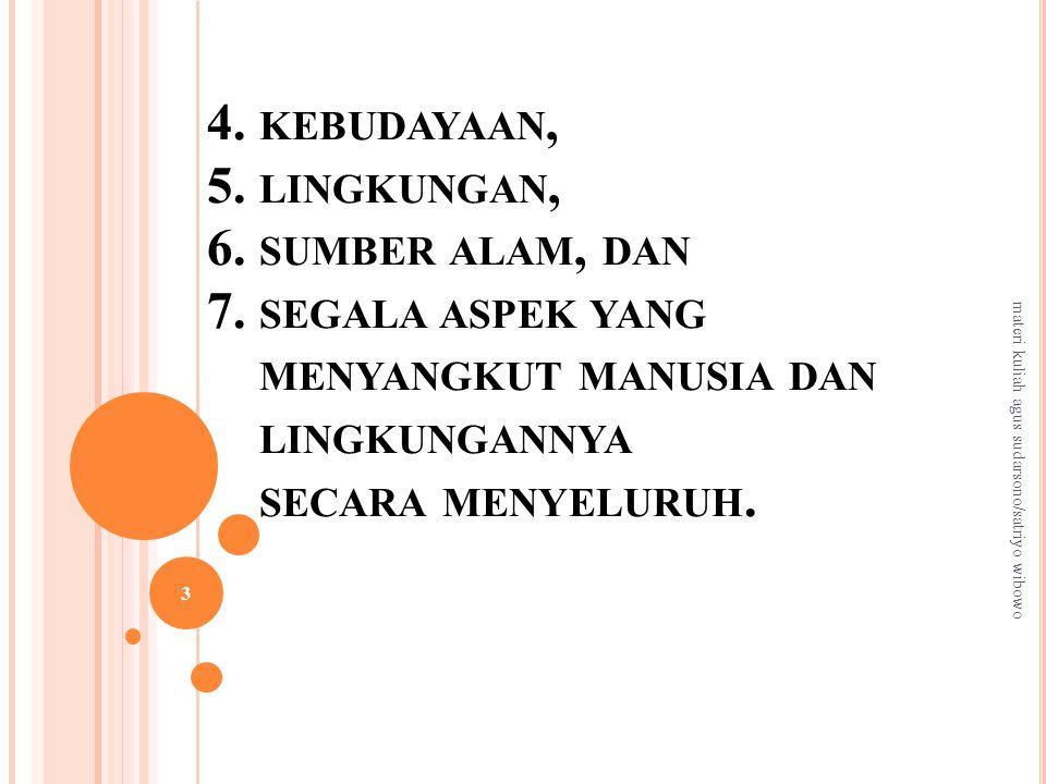 4.KEBUDAYAAN, 5. LINGKUNGAN, 6. SUMBER ALAM, DAN 7.