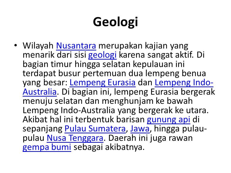 Geologi Wilayah Nusantara merupakan kajian yang menarik dari sisi geologi karena sangat aktif. Di bagian timur hingga selatan kepulauan ini terdapat b