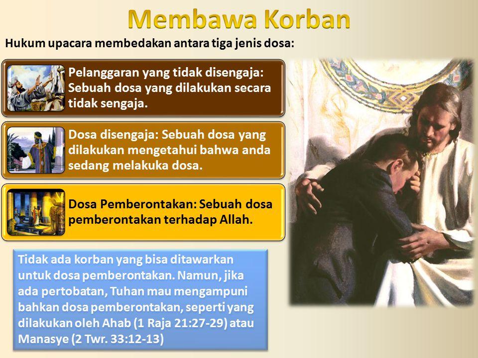 Hukum upacara membedakan antara tiga jenis dosa: Pelanggaran yang tidak disengaja: Sebuah dosa yang dilakukan secara tidak sengaja. Dosa disengaja: Se