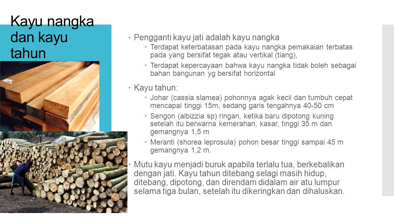 Kayu nangka dan kayu tahun  Pengganti kayu jati adalah kayu nangka  Terdapat keterbatasan pada kayu nangka pemakaian terbatas pada yang bersifat tegak atau vertikal (tiang),  Terdapat kepercayaan bahwa kayu nangka tidak boleh sebagai bahan bangunan yg bersifat horizontal  Kayu tahun:  Johar (cassia slamea) pohonnya agak kecil dan tumbuh cepat mencapai tinggi 15m, sedang garis tengahnya 40-50 cm  Sengon (albizzia sp) ringan, ketika baru dipotong kuning setelah itu berwarna kemerahan, kasar, tinggi 35 m dan gemangnya 1,5 m  Meranti (shorea leprosula) pohon besar tinggi sampai 45 m gemangnya 1,2 m.