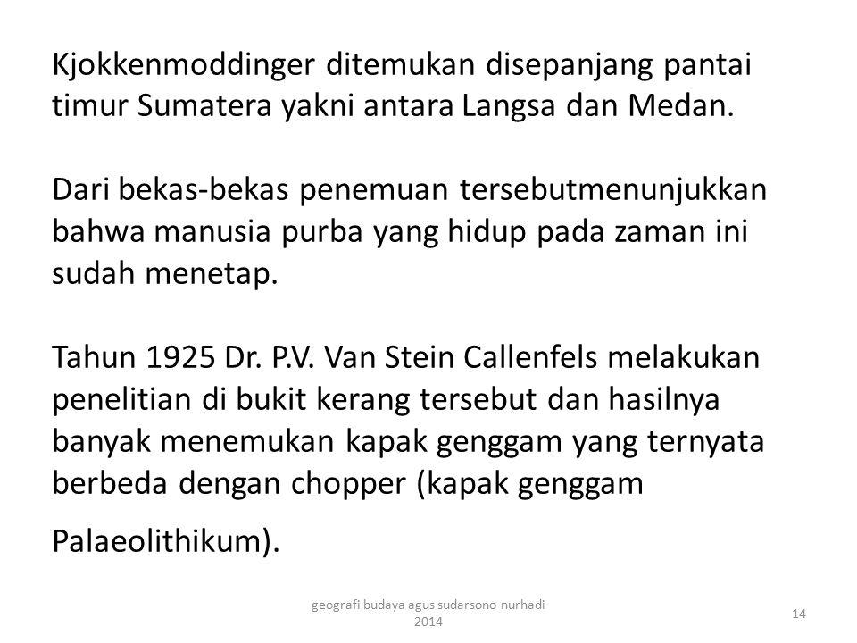 Kjokkenmoddinger ditemukan disepanjang pantai timur Sumatera yakni antara Langsa dan Medan. Dari bekas-bekas penemuan tersebutmenunjukkan bahwa manusi