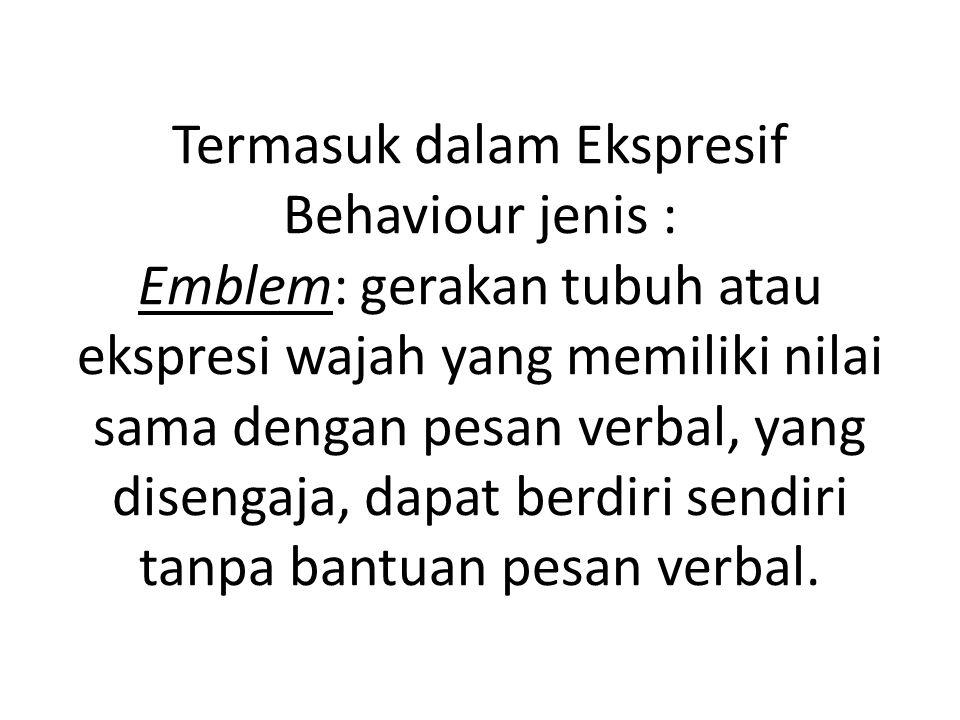 Termasuk dalam Ekspresif Behaviour jenis : Emblem: gerakan tubuh atau ekspresi wajah yang memiliki nilai sama dengan pesan verbal, yang disengaja, dapat berdiri sendiri tanpa bantuan pesan verbal.