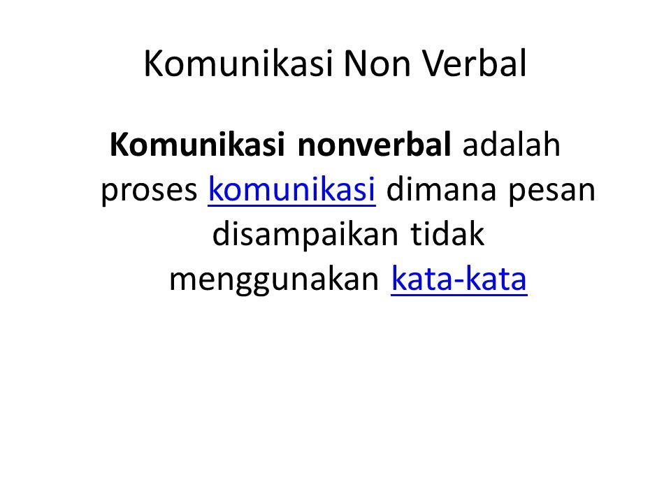 Komunikasi Non Verbal Komunikasi nonverbal adalah proses komunikasi dimana pesan disampaikan tidak menggunakan kata-katakomunikasikata-kata